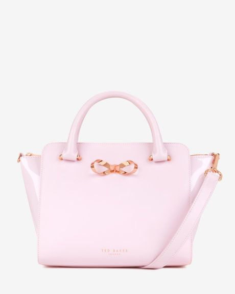 Loop bow leather tote bag - Pale Pink | Bags | Ted Baker UK