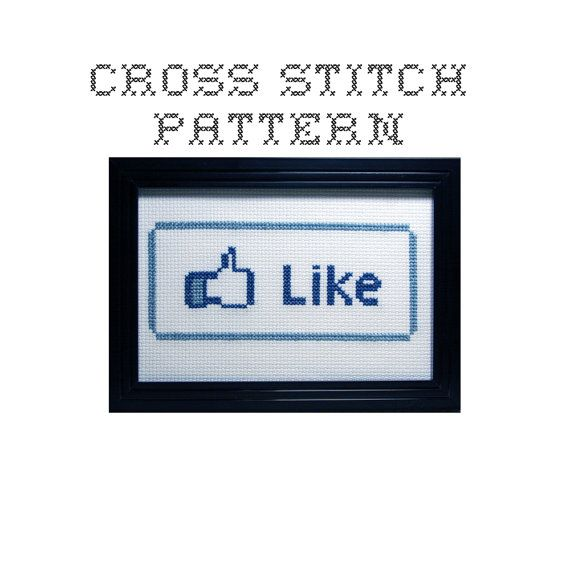 DIY Like  .pdf Original Cross Stitch Pattern  by bombastitch, $4.00 ...  Yeah, this is freakishly awesome.  I would seriously make this and give it for, like, any occasion.  ;)  Carry it in my purse and hand it out when a friend says something cool.