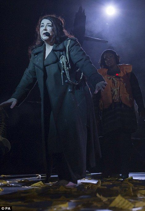 Kate Bush during her first concert in 35 years in a welcome return to the Hammersmith Apol...