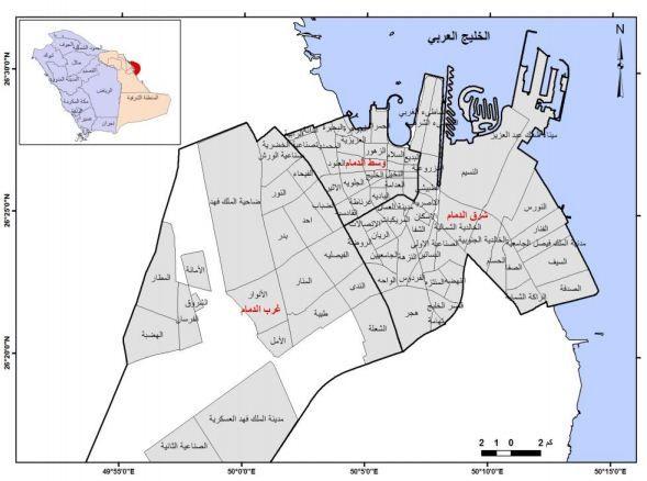 الجغرافيا دراسات و أبحاث جغرافية التحليل المكاني لشبكة الطرق البرية بمدينة الدمام Geography Map Places To Visit