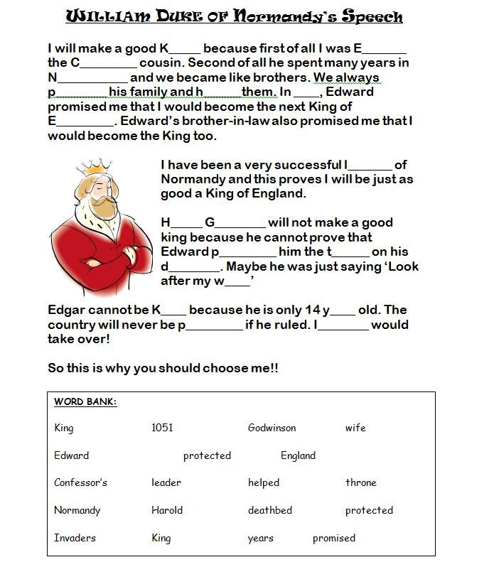 Worksheets to help with the Medieval Realms Unit