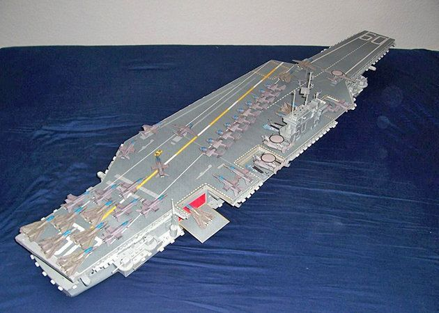 Mô hình giấy USS Saratoga CV-60   Papercraft USS Saratoga CV-60.
