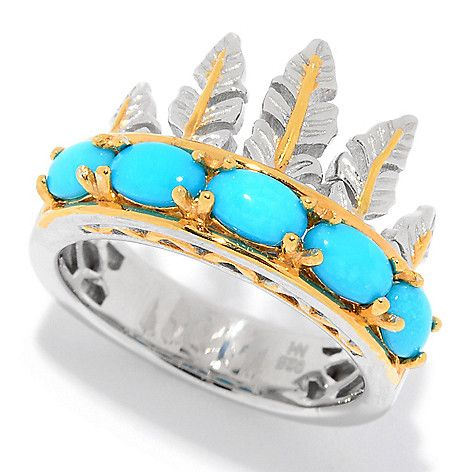 159-654 - Gems en Vogue Sleeping Beauty Turquoise Asymmetrical Feather Ring