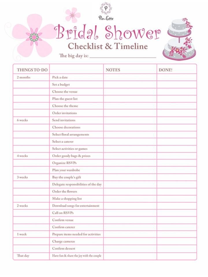 must have bridal shower checklist and timeline