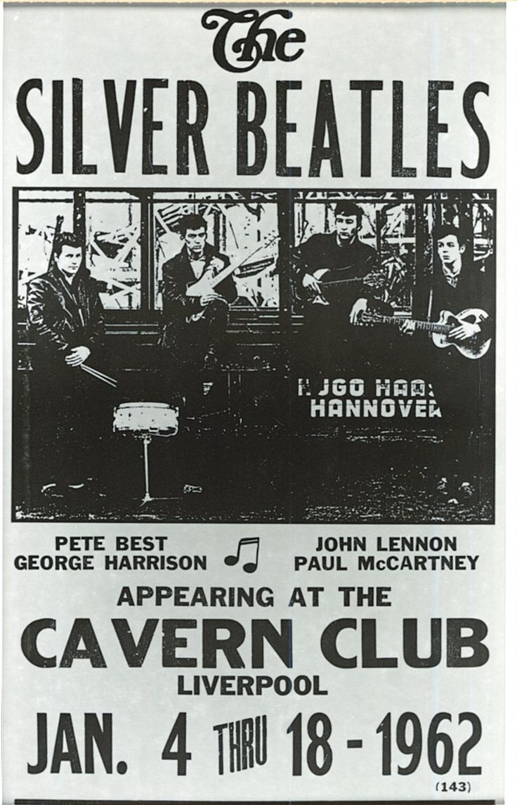 1962 - Vintage The Silver Beatles concert poster art Cavern Club.
