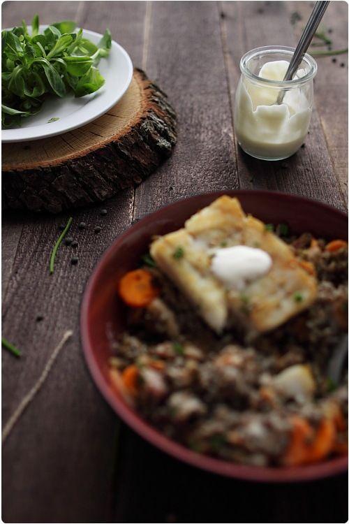 Recette Lentilles tahin, à végétaliser (crème végétale et tofu fumé)