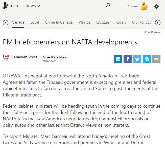 PM briefs premiers on NAFTA developments