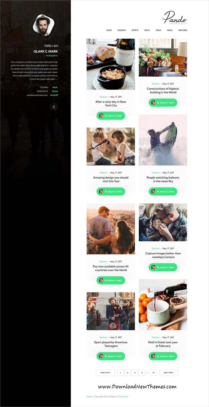 a8445793411 Pando is clean and modern design  PSD  template for personal  blog and   bloggers website with 33 layered PSD files to dow…