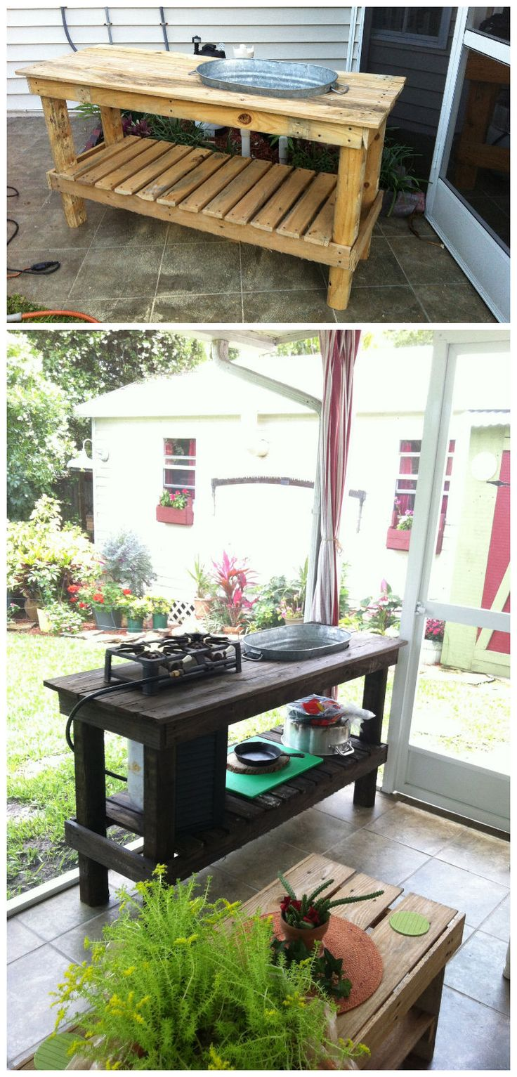 Used old pallets, old wash tub and old propane with double burner. Idea sent by Roy Spruill !…