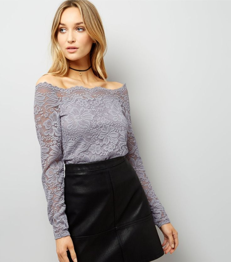 Pale Grey Scallop Hem Lace Bardot Neck Top | New Look