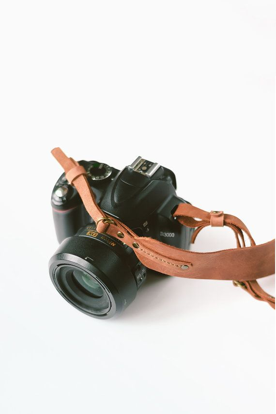 Leather camera strap brown leather camera strap by TOMBERgoods