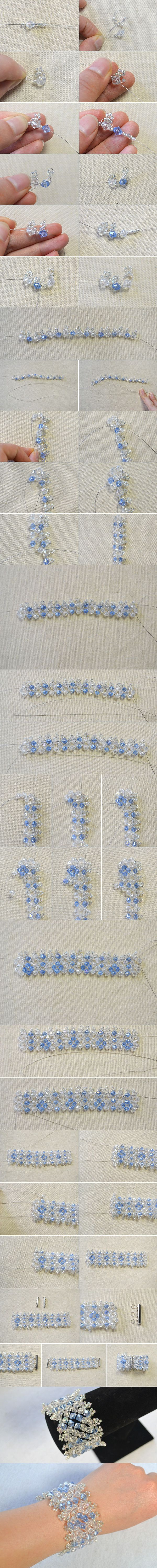 Beaded Bracelet Tutorial-How Do You Make a Crystal Beaded Bracelet from LC.Pandahall.com #pandahall