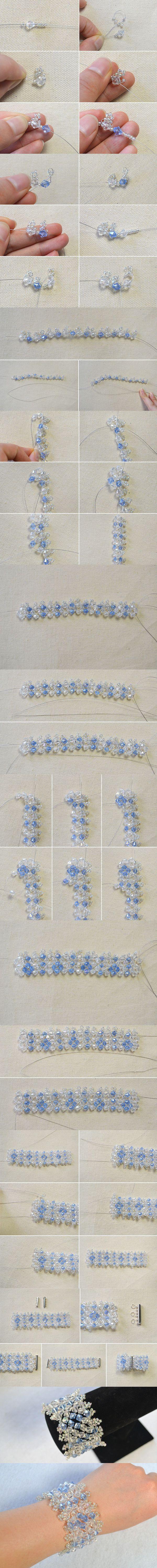 Beaded Bracelet Tutorial-How Do You Make a Crystal Beaded Bracelet from LC.Pandahall.com #pandahall