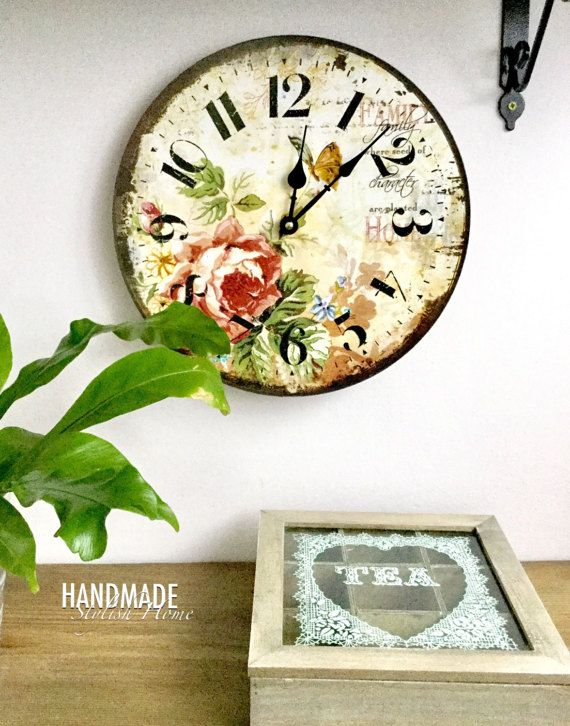 colorful shabby chic wall clock vintage wall clock spring