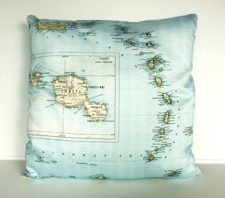 TAHITI, French Polynesia, map cushion,  organic cotton cushion, pillow, cushion cover 16 inch, 41cms. $55.00, via Etsy.