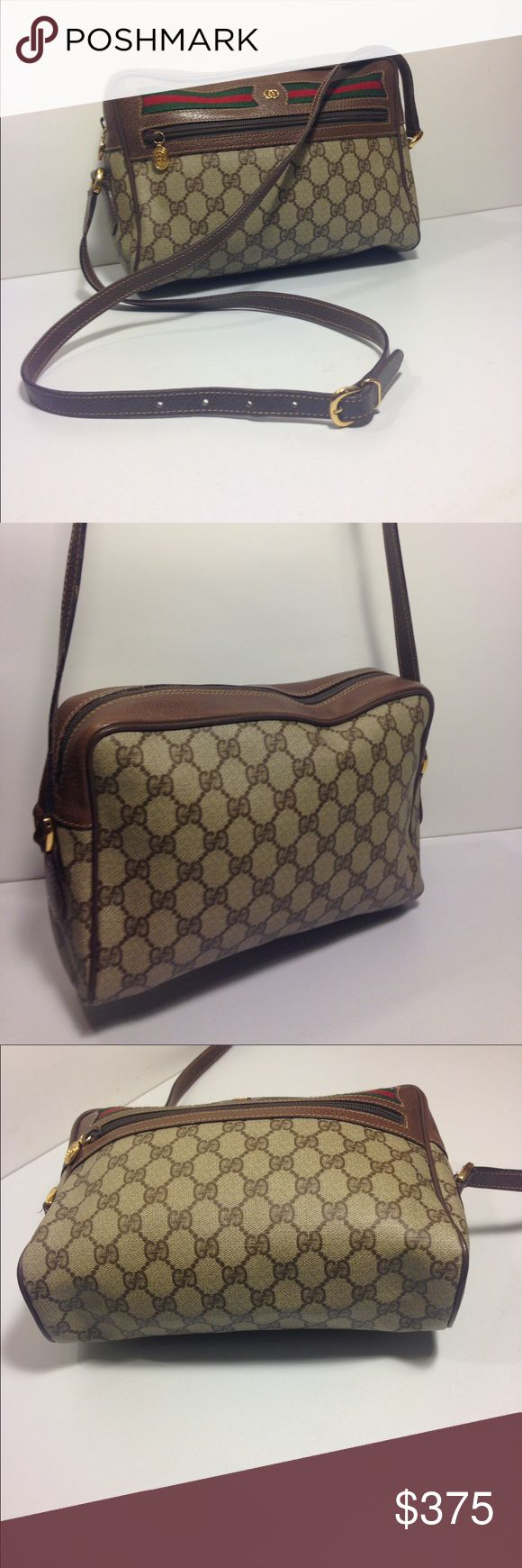 """Gucci """"GG"""" Sherry Line Cross Body Bag Gucci """"GG"""" Sherry Line Cross Body Bag ... Serial # 001.113.6472 ... Color: Brown ... Material: PVC / Leather ... Length: 10"""" ... Height: 7"""" ... Width: 3"""" ... Strap drop: 18"""" ...  Features: Zippered Exterior pocket ... Top zippered closure ... Zippered interior pocket ... Adjustable shoulder strap ... Gold tone hardware ... Condition: Normal sign of use ... interior lining scuff ... Excellent condition ... Guaranteed Authentic. Gucci Bags Crossbody Bags"""
