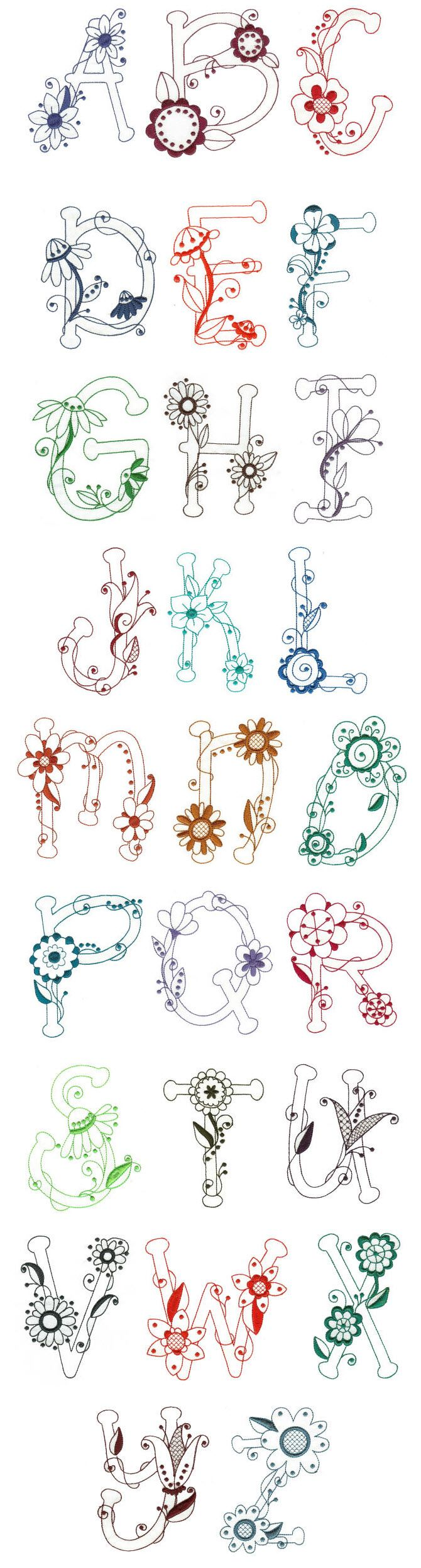 Embroidery | Free Machine Embroidery Designs | Flirty Florals Redwork Alphabet