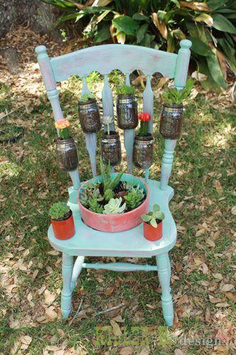 Salvaged Chair Garden Planter