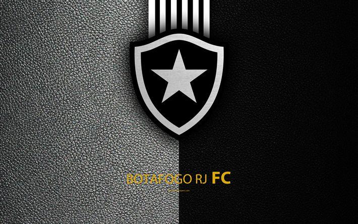 Download wallpapers Botafogo RJ FC, 4K, Brazilian football club, Brazilian Serie A, leather texture, Botafogo emblem, logo, Botafogu, Rio de Janeiro, Brazil, football