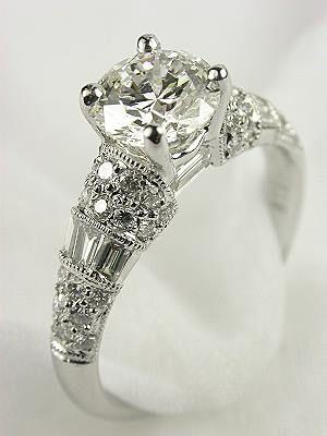 Antique Style Diamond Bridal Rings Set