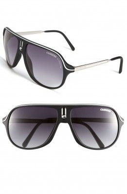 Óculos Carrera Men's Eyewear Safarrs Aviator Sunglasses Black White #Oculos #Carrera