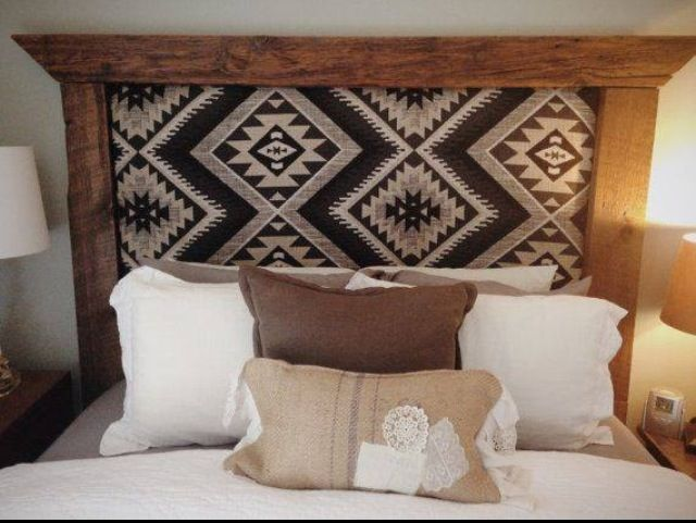 Headboard from Pendleton wool blanket