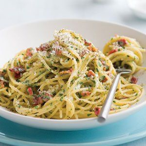 TM - spaghetti carbonara without cream. Just substitute pancetta for bacon.