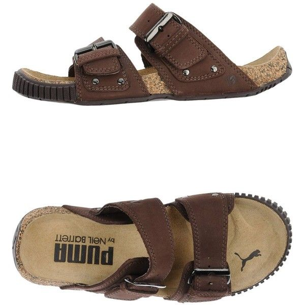 Puma By Neil Barrett Sandals ($60) ❤ liked on Polyvore featuring shoes, sandals, cocoa, leather footwear, puma footwear, round cap, flat sandals and round toe flat shoes