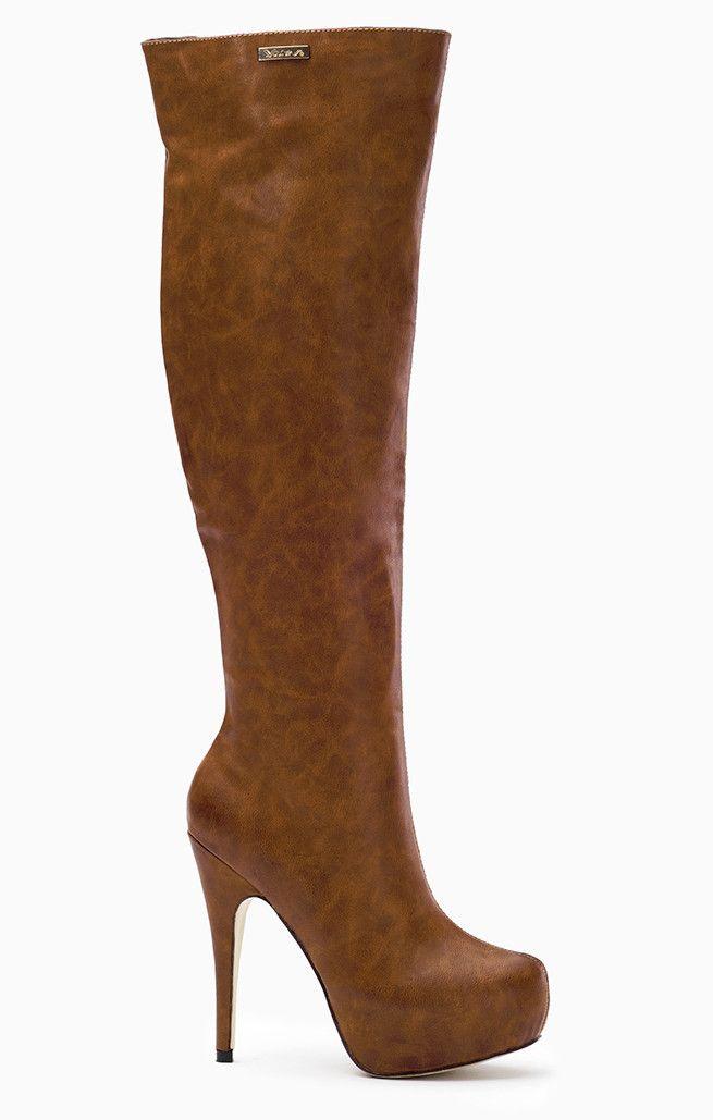 Seksowne kozaki na smukłej szpilce Brązowe - odcienie brązu i beżu over knee boots