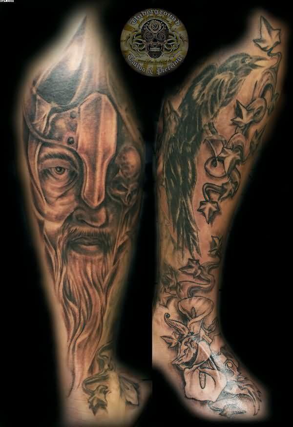 39 best viking warrior tattoos sleeves images on pinterest for Ravens face tattoos