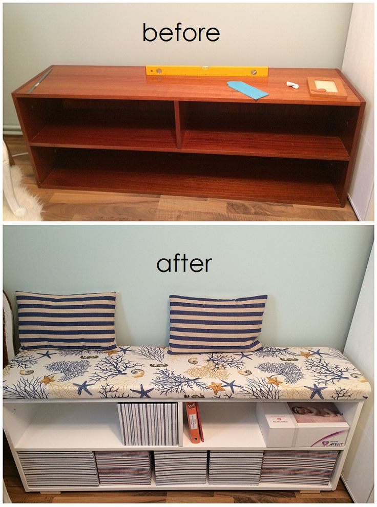 Nice bench made from an old shelf unit; painted and upholstered; nautical nursery;  diy storage boxes