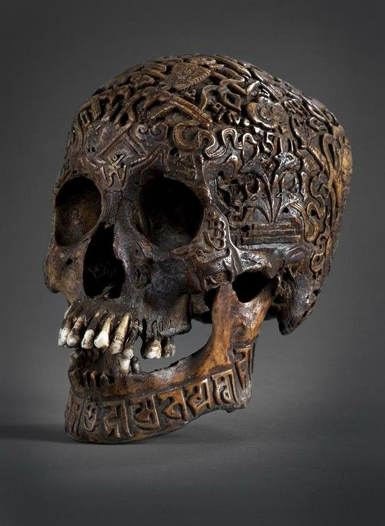Antique carved Tibetan skull