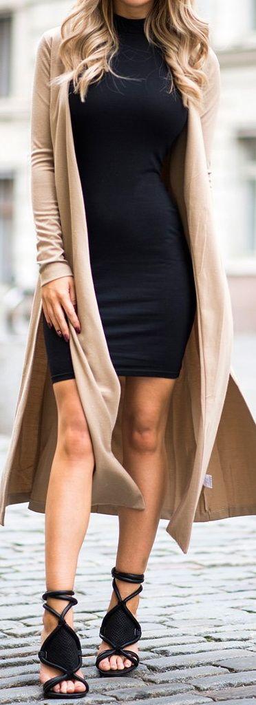 Little Black Dress + Camel Coat