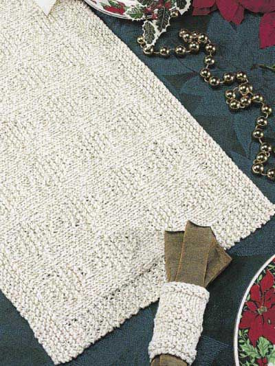Christmas Sparkle Place Mat & Napkin Holder free knitting pattern of the day 7/30/13