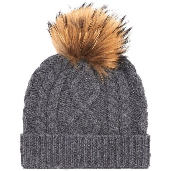 Weekend Max Mara Stemma Cable Knit Fur Bobble Hat ($115) ❤ liked on Polyvore featuring accessories, hats, weekend max mara, bobble beanie hat, fur bobble hat, cable hat and bobble hat