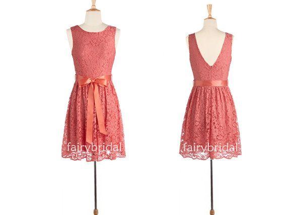 Coral Bridesmaid Dress,  Short Coral Lace Bridesmaid Dress, Knee Length Prom Gown, A-line Short Lace/ Chiffon Bridesmaid Dress FB1110