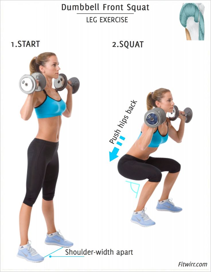Dumbbell Front Squat: This squatting exercise works your  quads (thighs), and glutes (buns) from every angle. It's one of the most effective lower body exercises you can do to get leaner legs and a lifted butt.  Do 3 sets of 10-12 reps in two non-consecut