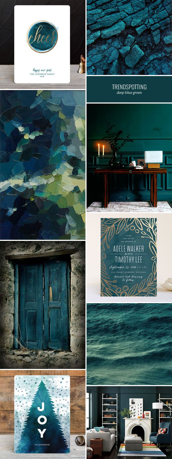 The deep blue green 2016 stationery color trend, featuring inspiration and paper goods in this dramatic, luxurious hue.