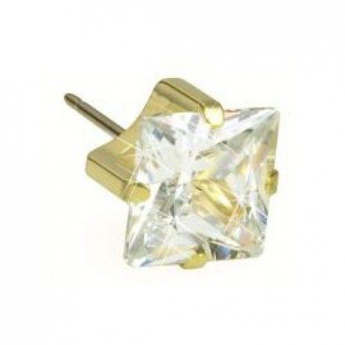 Medical Earrings - Gold Titanium Tiffany Square 5mm White (Nickel Free)
