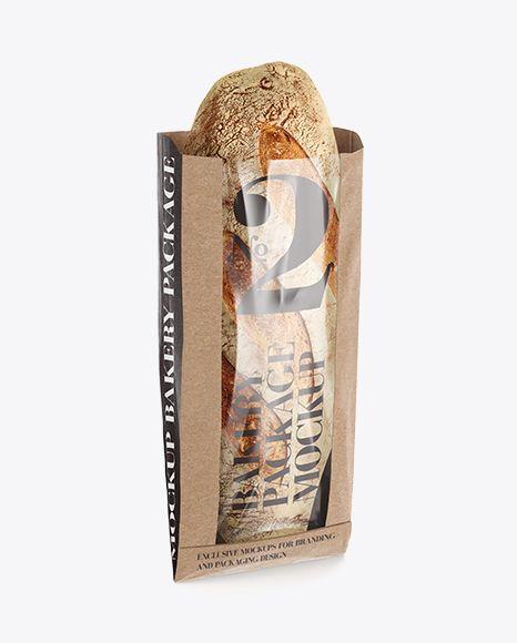 Kraft Paper Bread Bag w/ Window Mock-Up. Preview