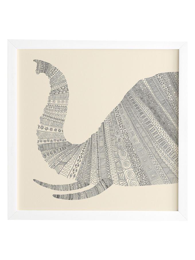 Florent Bodart Elephant Beige Framed Wall Art from Cool Neutrals: Rugs