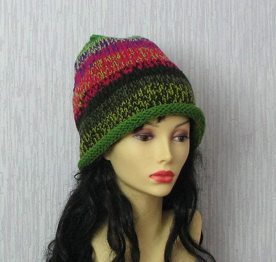 Hand  Knit Hat Colorful Slouch Hat  Women Hat  by AlbadoFashion