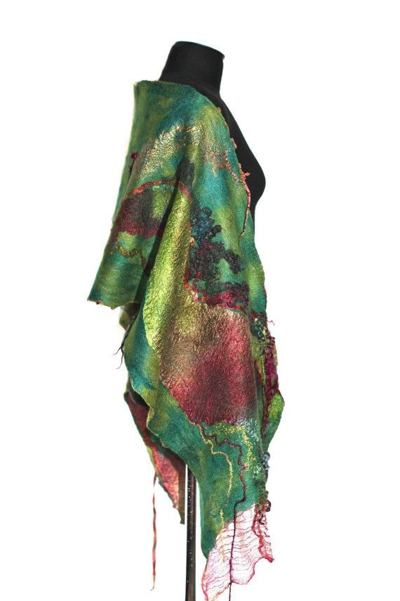 Nuno Felted Scarf Long Textured Reversible by FeltedPleasure, $179.00