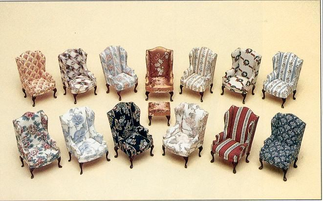 Free Pattern - Wing Chair - also has a multitude of other furniture patterns that could be sized for fashion dolls.