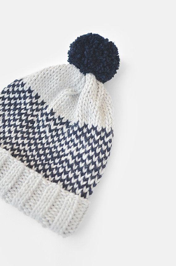 Fair Isle Beanie with Pom Pom Hand Knit Hat Womens by Plexida. Love the simple fair isle pattern and contrasting colours.