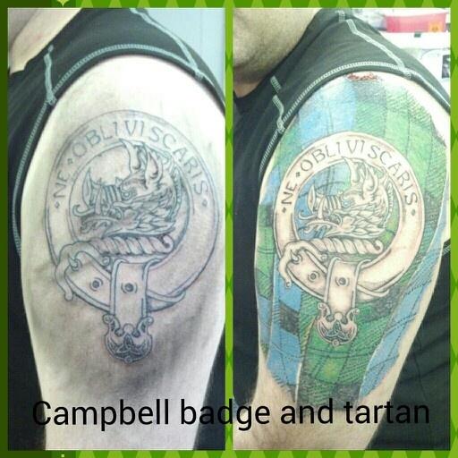 Scottish Clan Tattoos: Campbell Badge And Tartan Tattoo