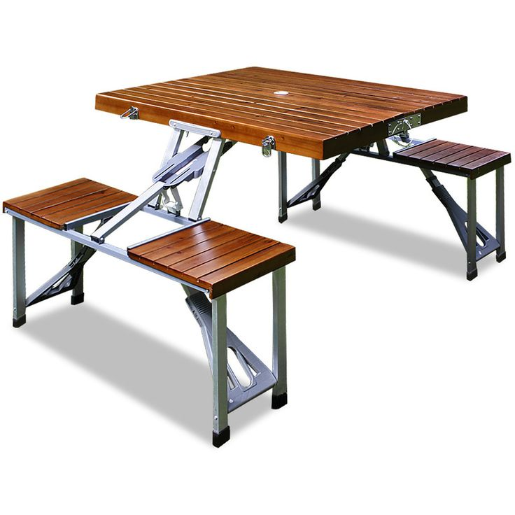 Camping Table and Chairs Set made of Aluminium with Seats made of Wood - 4250525300819 - Garden and Outdoor