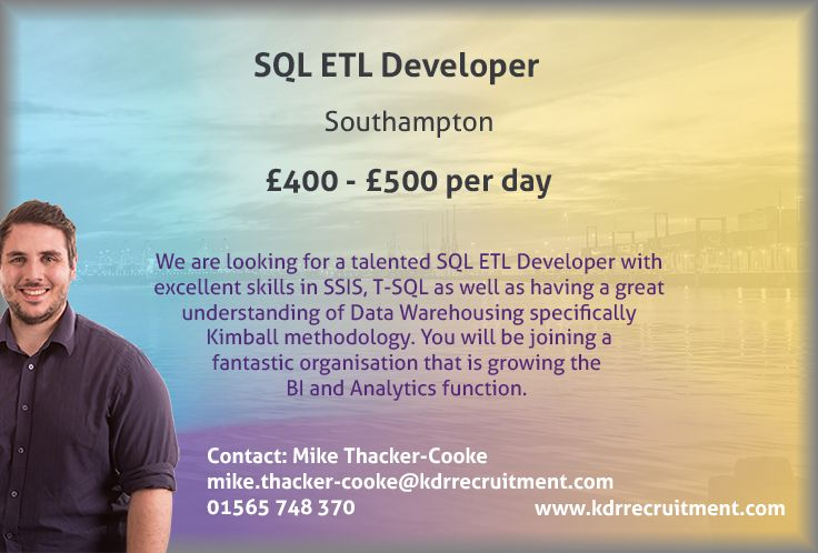 New #Job: SQL ETL Developer needed in #Southampton. To find out more contact Mike at mike.thacker-cooke@kdrrecruitment.com / 01565 747 370 or #apply online today!