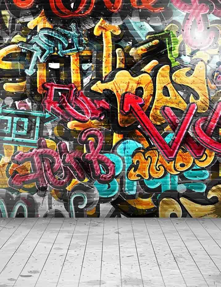 Painted Graffiti Brick Wall With Wood Floor Photography Backdrop J