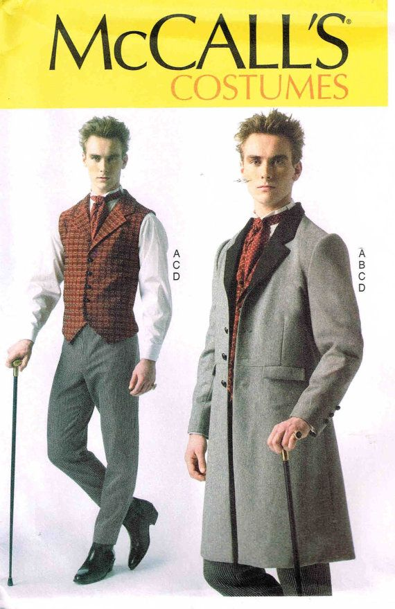 Men Steampunk Victorian Historical Dickens Frock McCalls 7003 Sewing Pattern by PeoplePackages, $10.00